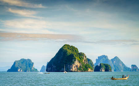 Scenic view of an island chain in the Andaman Sea in Thailand