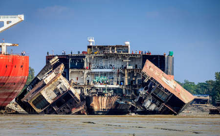 Old ships are being dismantled at ship-breaking yards in Chittagong, Bangladesh