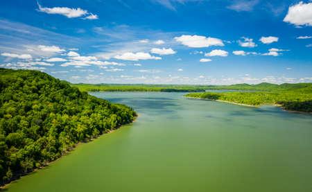 Beautiful aerial view of Cave Run Lake in Kentucky Stock Photo