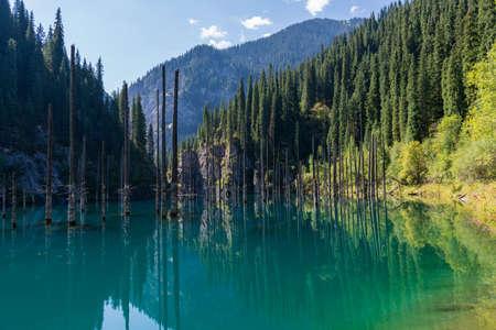 Kaindy lake - mountain lake in Kazakhstan