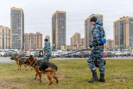 Female police officers with a trained dog patrolling in city