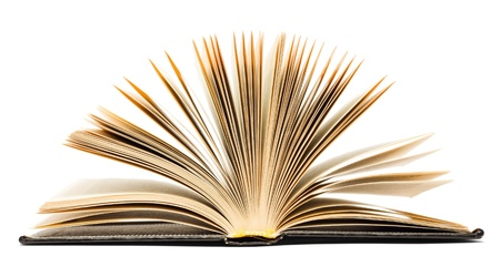 libro abierto: Antiguo libro negro abierto aisladas sobre fondo blanco Foto de archivo