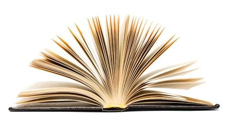 Oude zwart open boek geïsoleerd op witte achtergrond Stockfoto