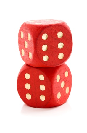 Red wooden dice isolated on white background Stock Photo - 12753402