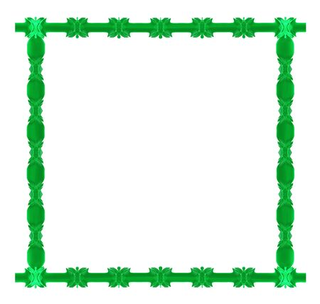 Green empty frame isolated on white background abstract illustration
