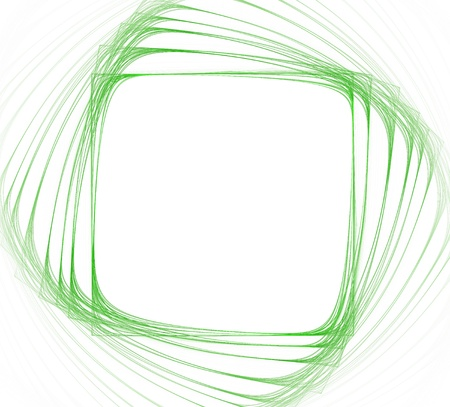 Green frame of square shape on white background