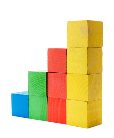 Color diagram chart of wooden blocks isolated on white background Stock Photo