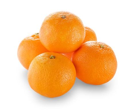 Ripe tangerines isolated on white background Stock Photo