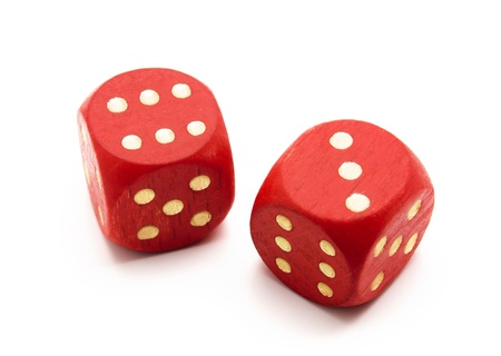 two object: Red wooden dice isolated on white background