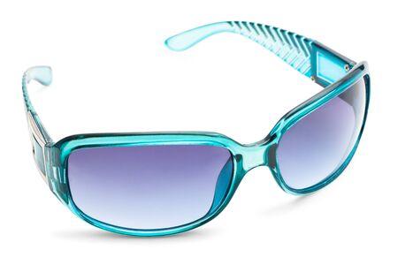 Blue transparent sunglasses isolated on white background photo