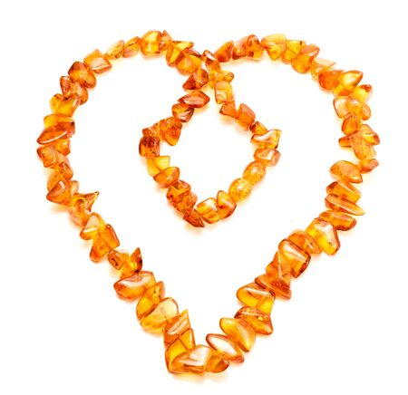 Amber necklace in heart shape Stock Photo