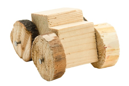 Homemade wooden car toy isolated on white background Stock Photo - 13040997