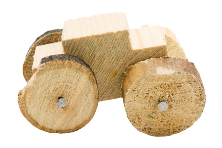 Homemade wooden car toy isolated on white background Stock Photo - 13041000