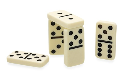 Dominoes construction built on white background