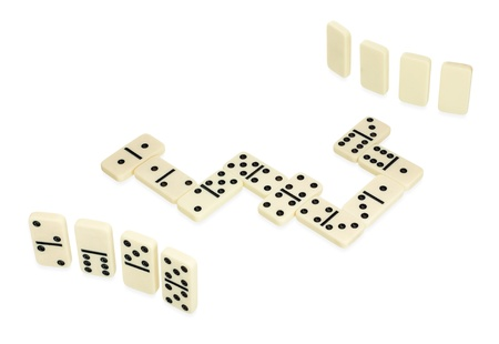 Domino game, dominoes lying in snake shape in game process isolated on white background Stock Photo