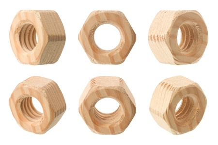 Wooden female screw nut isolated on white background macro shot Stock Photo - 13305881