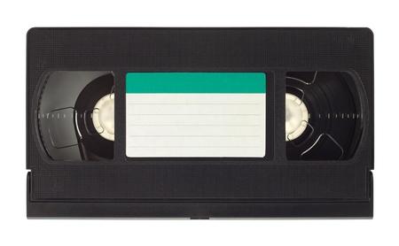 videocassette: Cinta de v�deo antiguo, con etiqueta vac�a aislados en fondo blanco