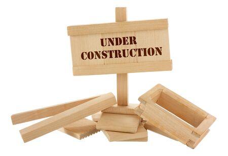 Under construction unfinished wooden house isolated on white Stock Photo - 13824106