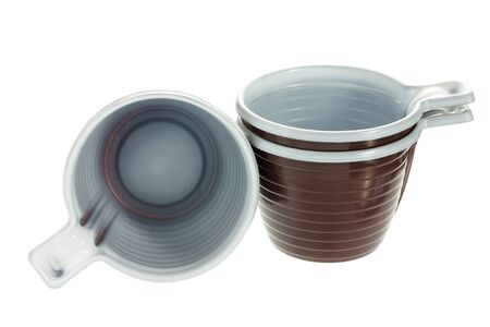 Group of empty disposable plastic brown coffee cups isolated on white background Stock Photo - 14544431