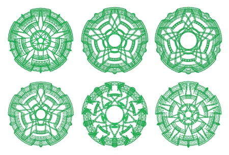 scenical: Green ornamental graphical abstract round lace collection isolated on white background, computer rendered
