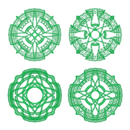 scenical: Green ornamental graphical round lace collection isolated on white background, computer rendered Stock Photo