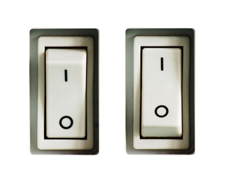 Two power switches switched on and off, isolated on white background