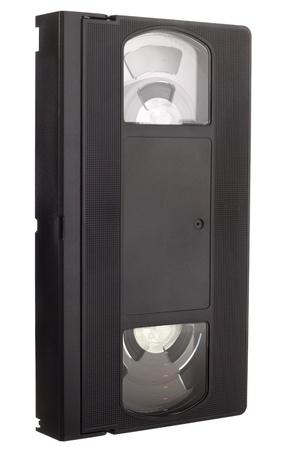 videocassette: Old VCR una cinta de v�deo sin etiqueta en la vista diagonal aislada en el fondo blanco