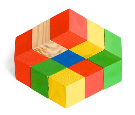 Impossible toy, illusion, unreal wooden colored cubes construction on white background