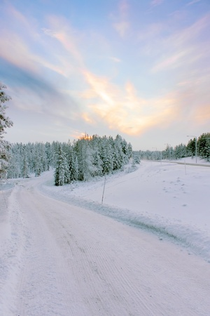 Winter snowy road going to the snow-covered green trees at twilight under a blue sky with clouds at sunset, winter landscape photo