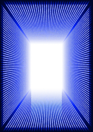 Dark blue rectangular digital corridor shined in the distance with reflection on a floor Stock Photo - 16236699