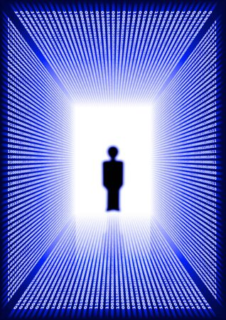 person shined: Dark blue rectangular digital corridor shined in the distance and blurred silhouette of a person standing in a doorway and reflection on a floor