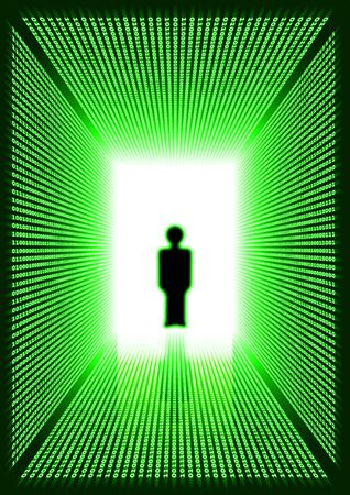person shined: Dark green rectangular digital corridor shined in the distance and blurred silhouette of a person standing in a doorway and reflection on a floor