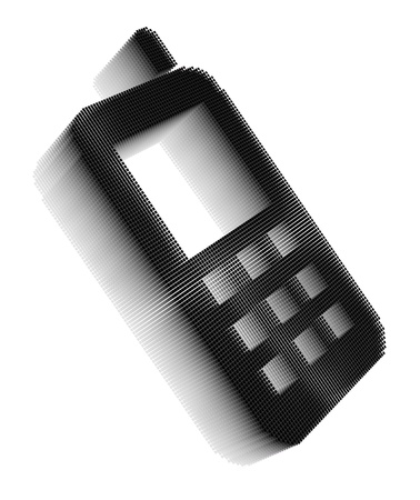Black pixel icon-like three-dimensional image of cellphone on white background in diagonal view Stock Photo - 16460162