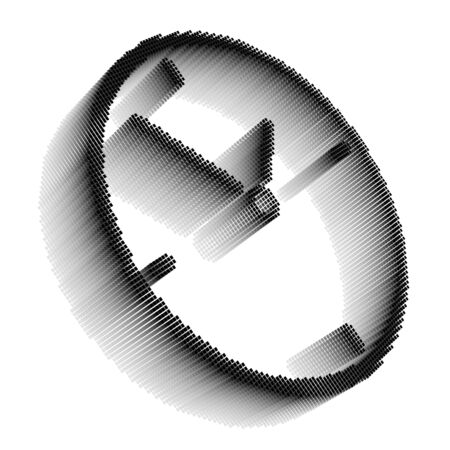 Black pixel icon-like three-dimensional image of clock on white background in diagonal view Stock Photo - 16460127