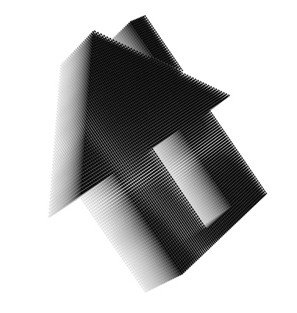 Black pixel icon-like three-dimensional image of house with rectangular door and chimney on white background in diagonal view Stock Photo - 16460170