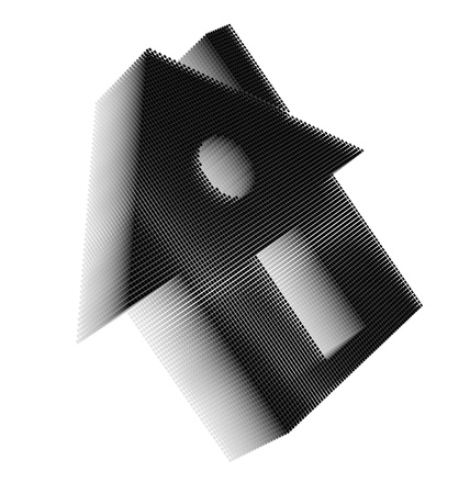 Black pixel icon-like three-dimensional image of house with rectangular door, round window and chimney on white background in diagonal view Stock Photo - 16460171