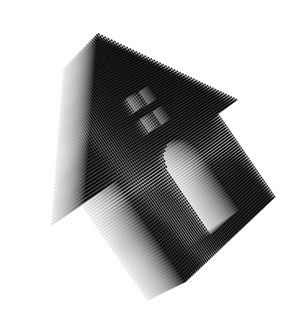 roundish: Black pixel icon-like three-dimensional image of house with roundish door and square window on white background in diagonal view