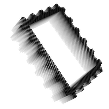 Black pixel icon-like three-dimensional image of postage stamp frame on white background in diagonal view Stock Photo - 16460128