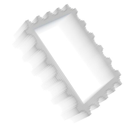 postage stamp frame: Gray pixel icon-like three-dimensional image of postage stamp frame on white background in diagonal view