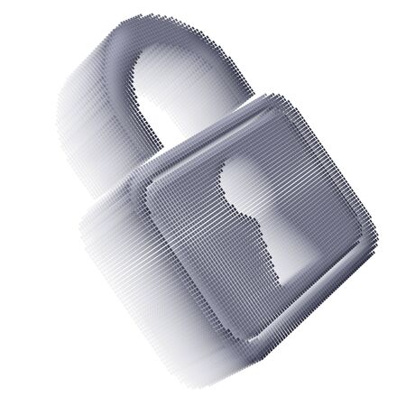 Gray pixel icon-like three-dimensional image of padlock on white background in diagonal view