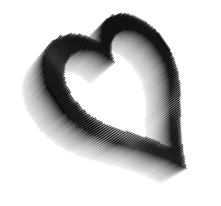 Black three-dimensional icon-like pixel image of heart on white background in diagonal view Stock Photo - 16460125