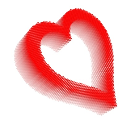 Red three-dimensional icon-like pixel image of heart on white background in diagonal view Stock Photo - 16460131