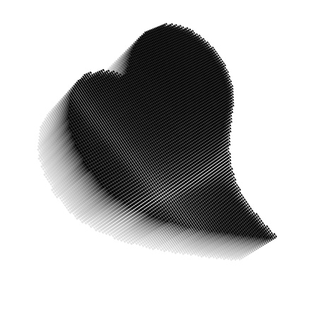 Black pixel icon-like three-dimensional image of bent heart on white background in diagonal view Stock Photo