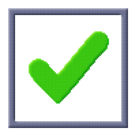 Pixel icon image of green check mark in gray frame consisting of cubes Stock Photo - 16664212
