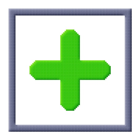 green plus: Pixel icon image of green plus sign in gray frame consisting of cubes