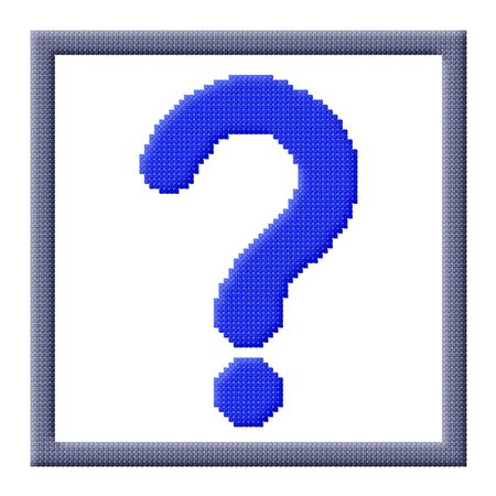 Pixel icon image of blue question mark sign in gray frame consisting of cubes photo