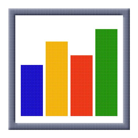 Pixel image of growing bar chart icon consisting of cubes