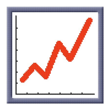 Pixel image of growing business graph icon consisting of cubes