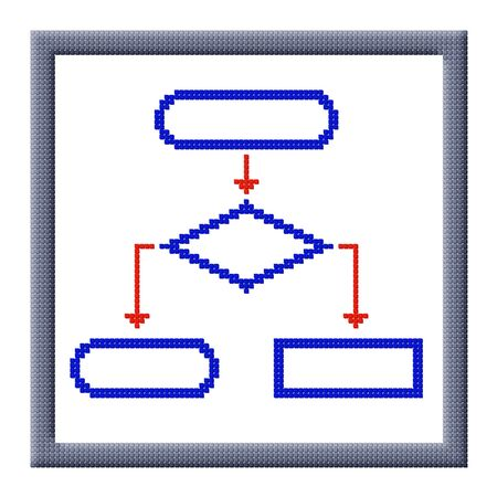 Pixel image of flowchart icon with copy-space in frame consisting of cubes Stock Photo - 16664209