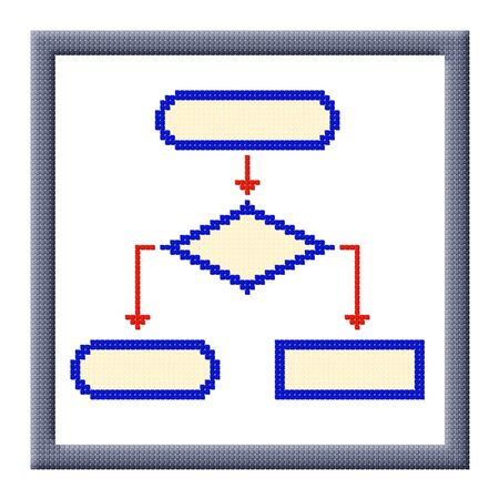 Pixel image of flowchart icon in frame consisting of cubes Stock Photo - 16664211